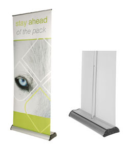 excaliber roller banner stand graphic