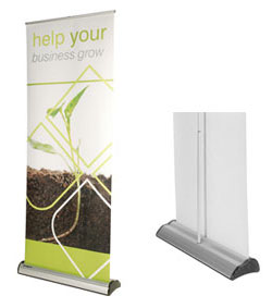 imagine roller banner stand graphic