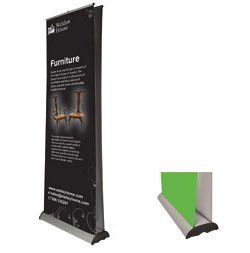 original 3 roller banner stand graphic